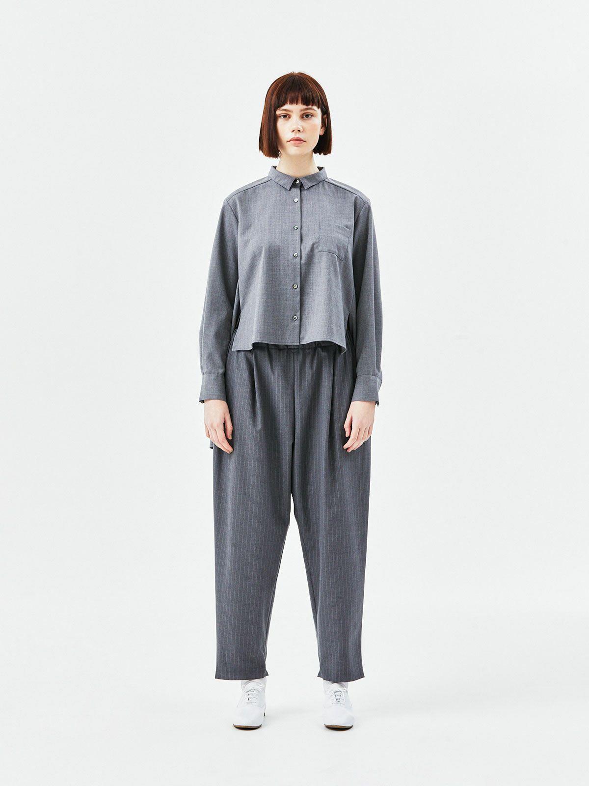 T/Wバックロング丈シャツ   /  gray