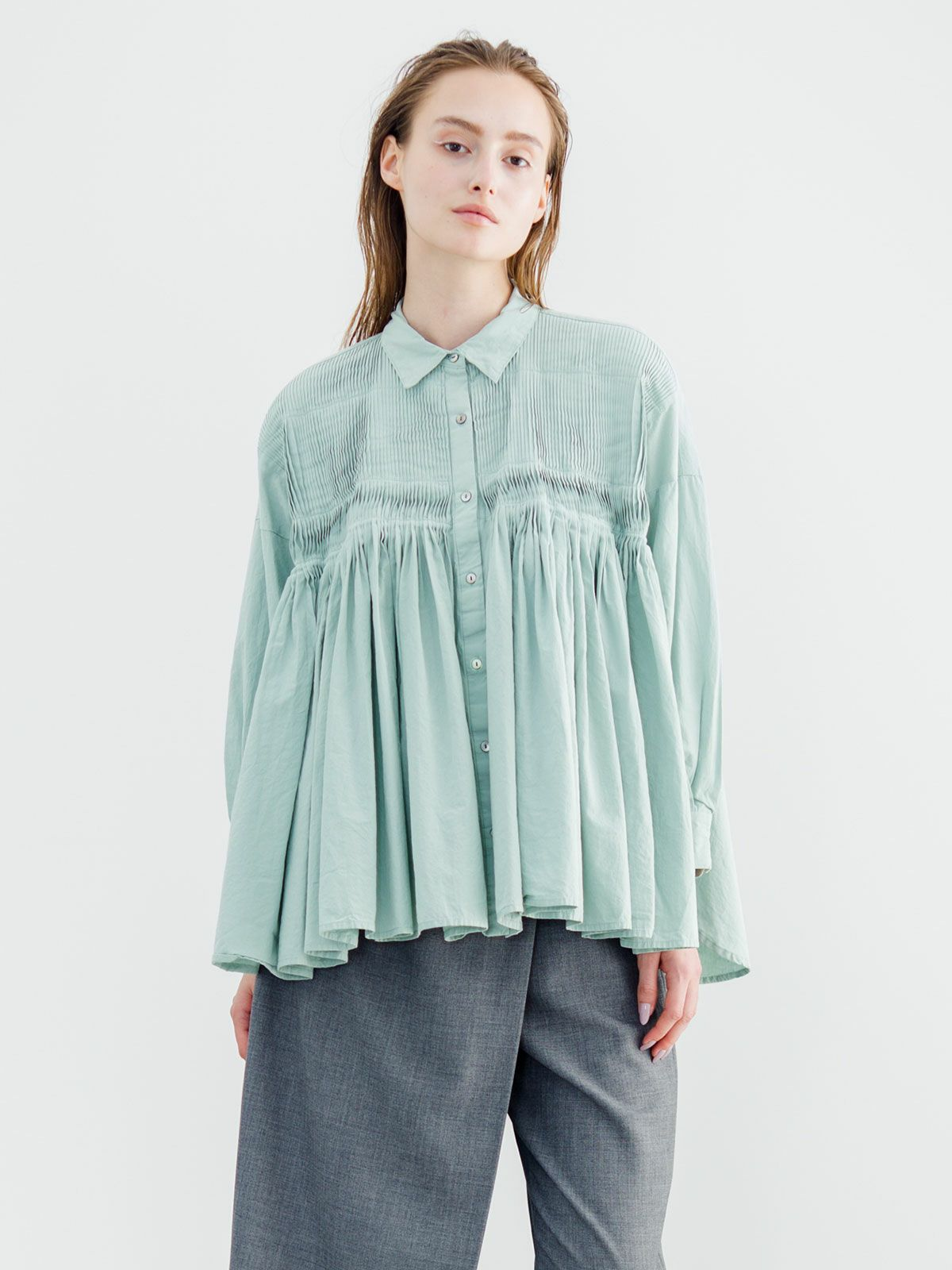 pin tuck embroidery wide shirt