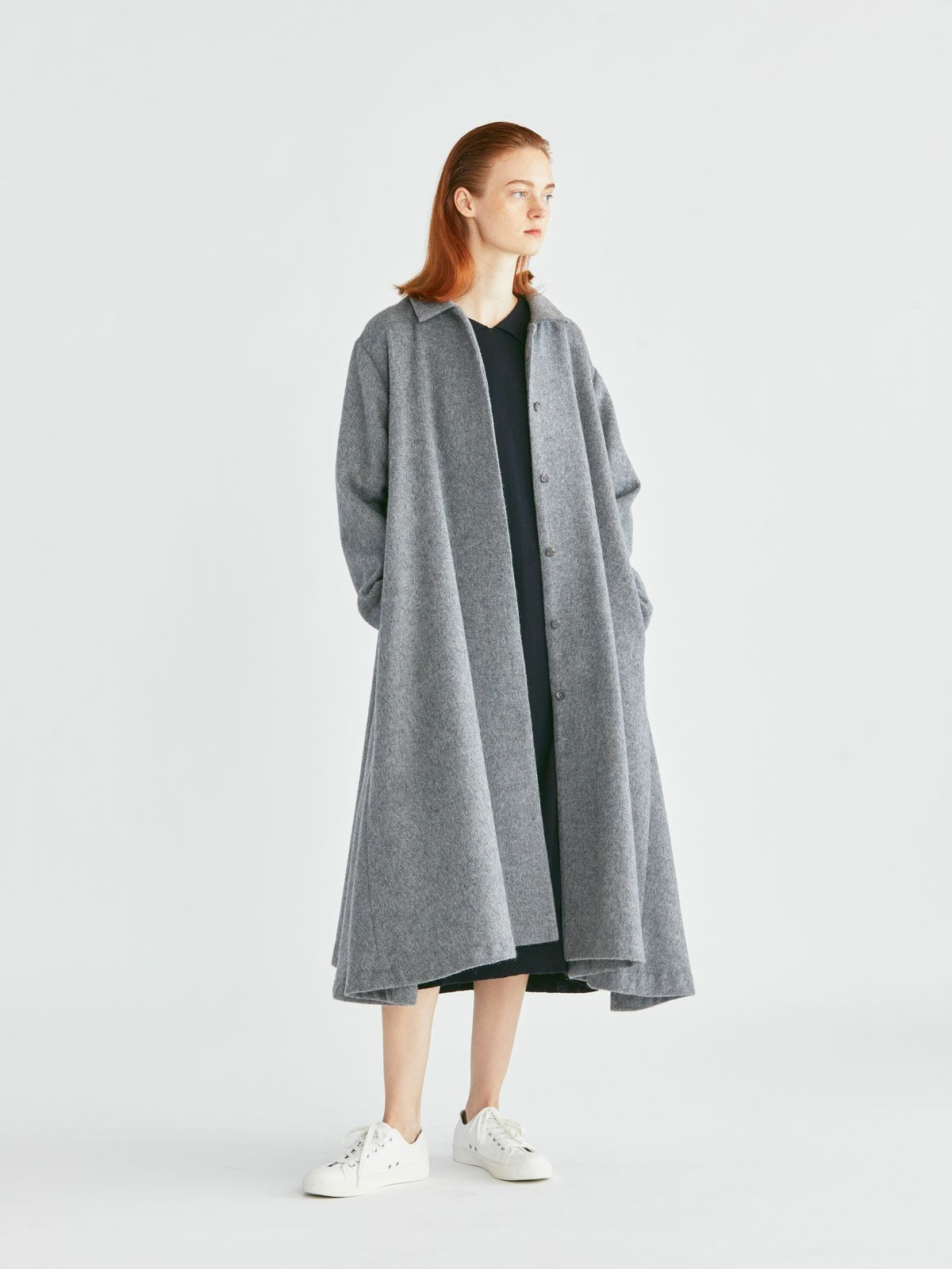 soutien collar flare coat   /  navy
