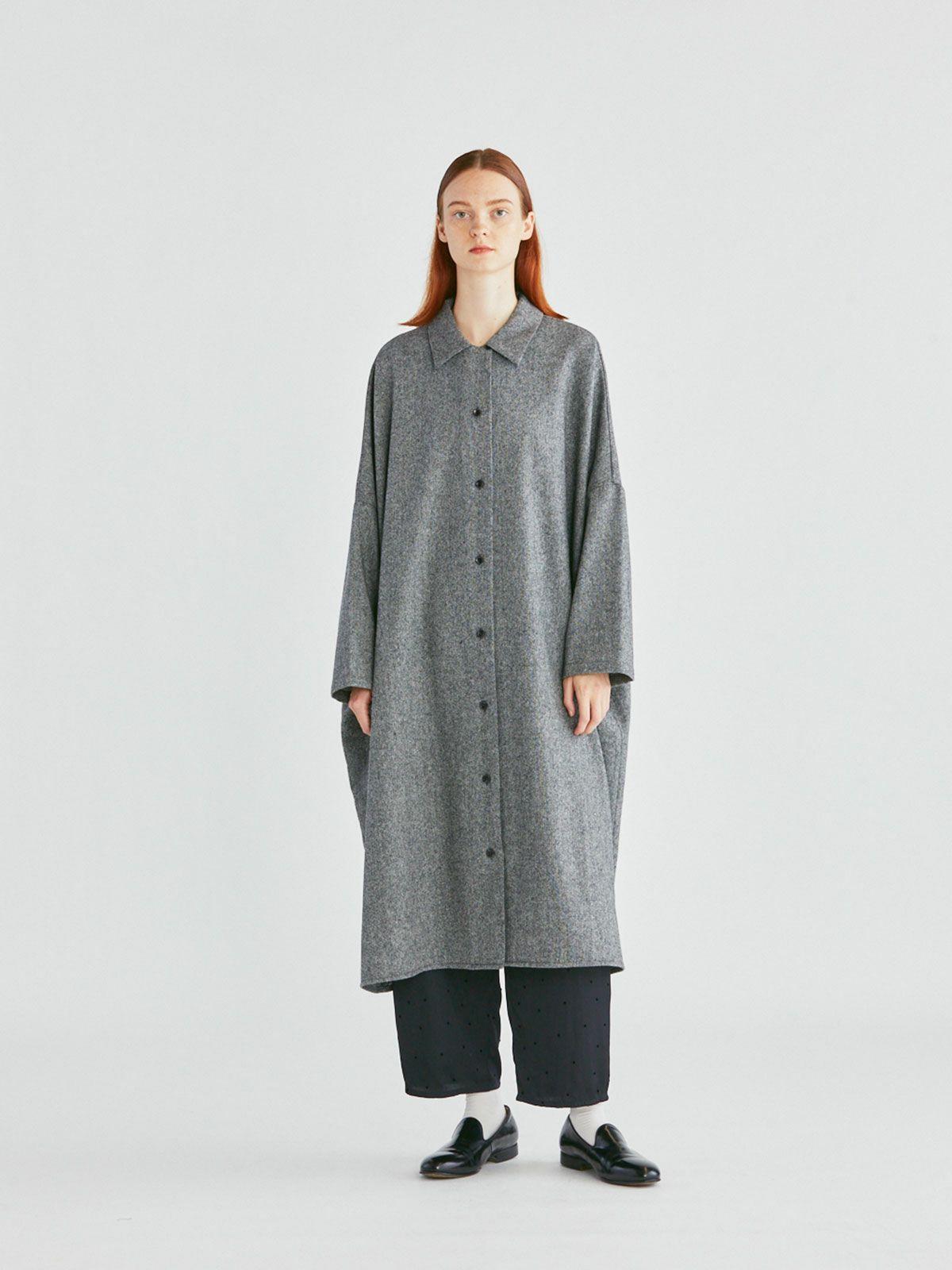 ツイードワイドシャツコート   /  gray,black