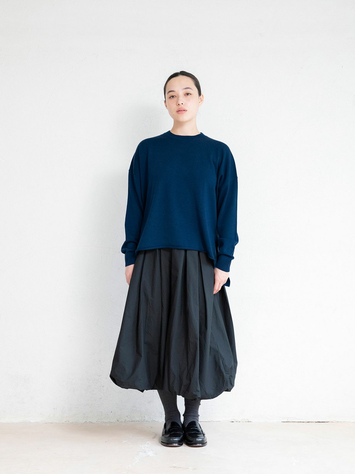 crew neck wide P/O   /  blue