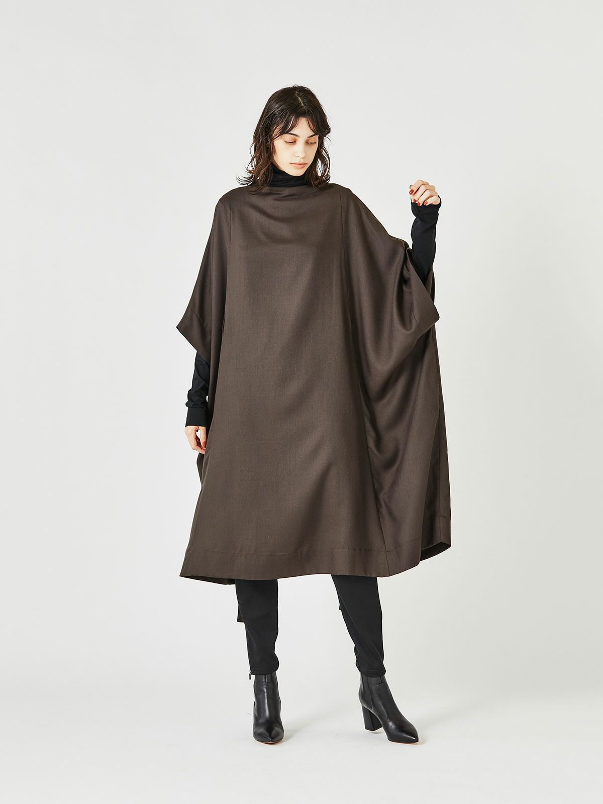 poncho OP with belt   /  brown 44