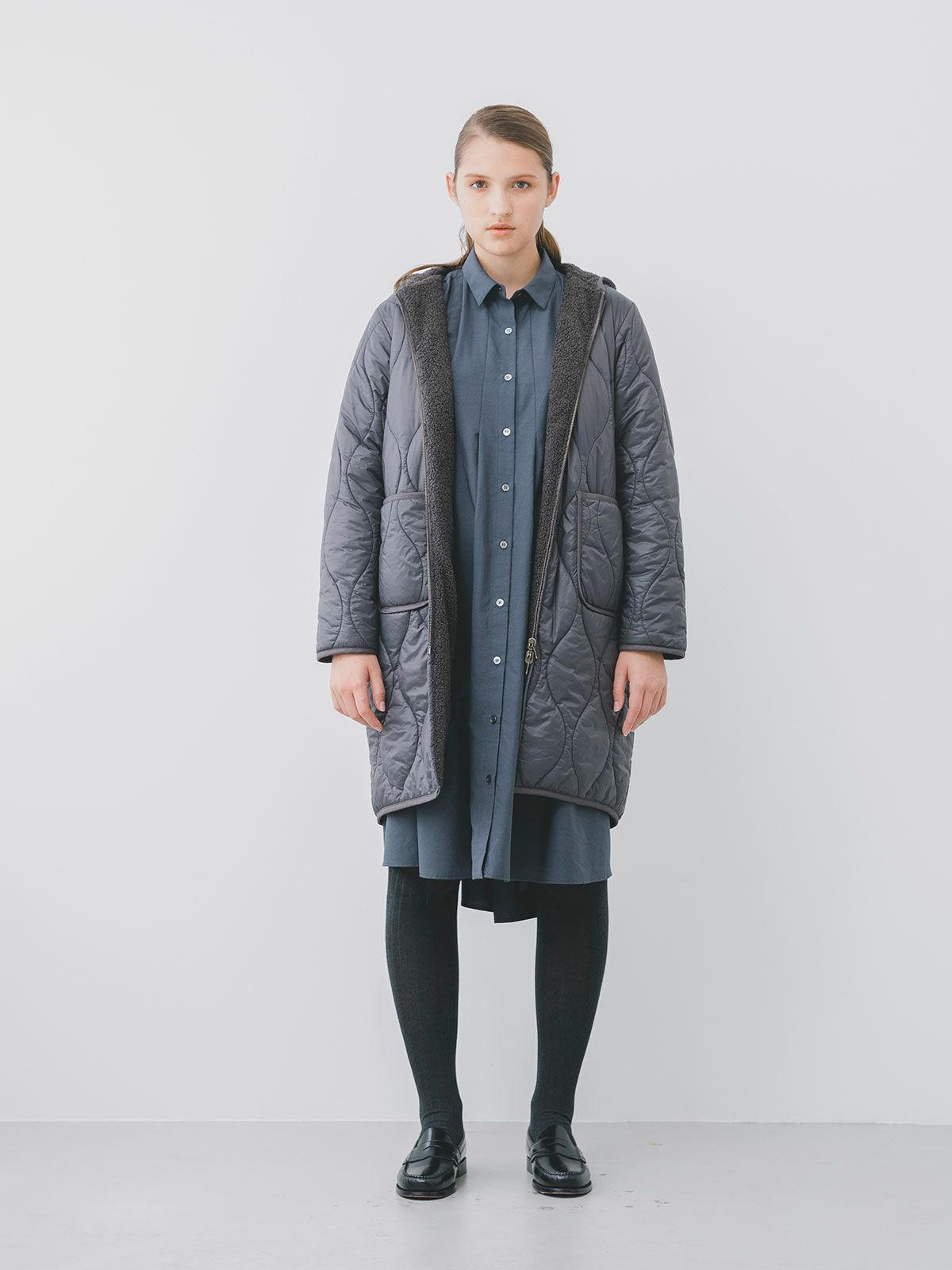 quilting hooded long coat
