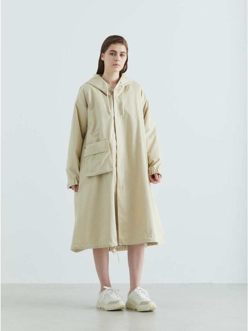 hooded coat with liner / beige