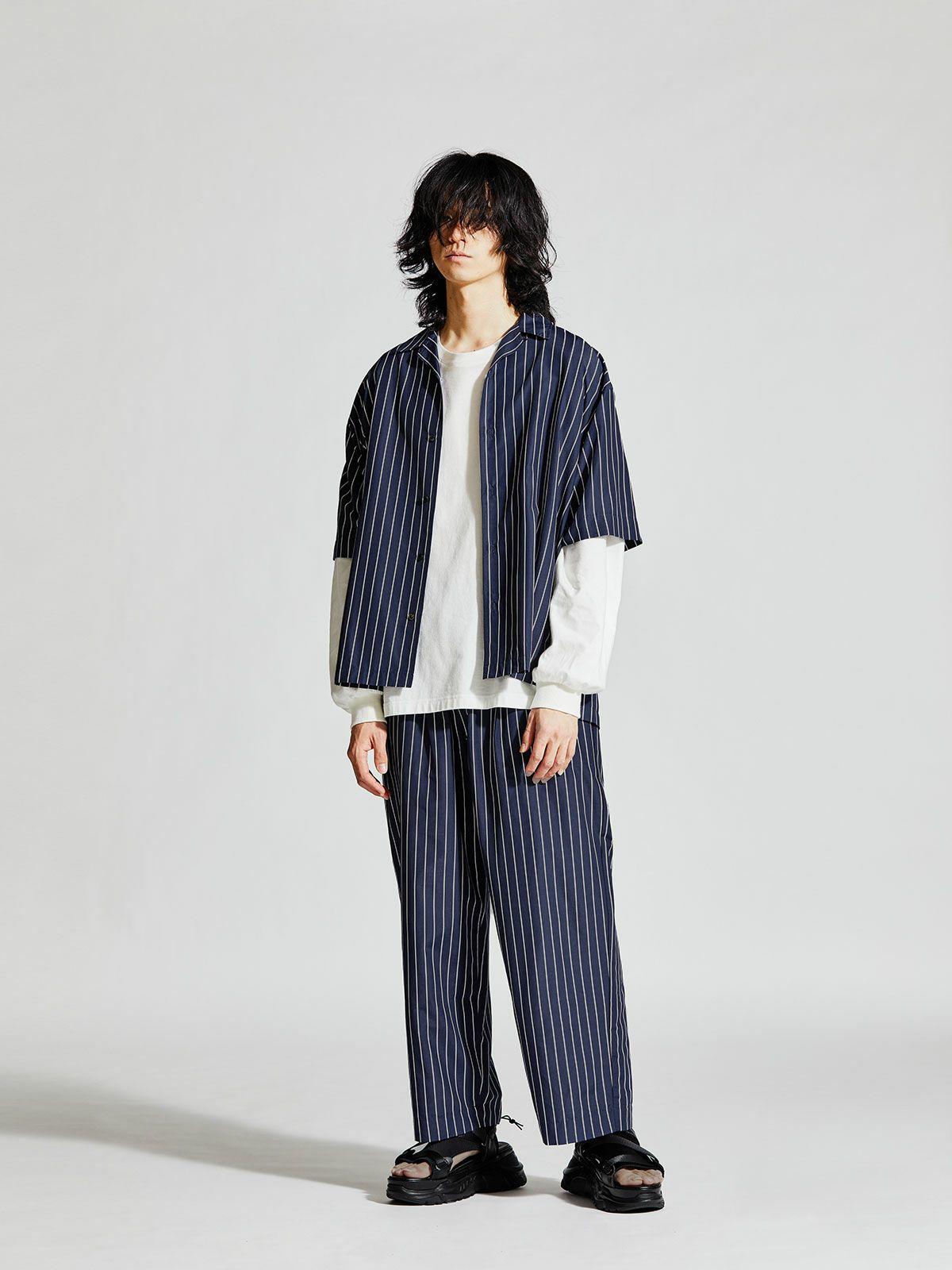 MIDIUMISOLID Men's ストライプハーフスリーブオープンカラーシャツ