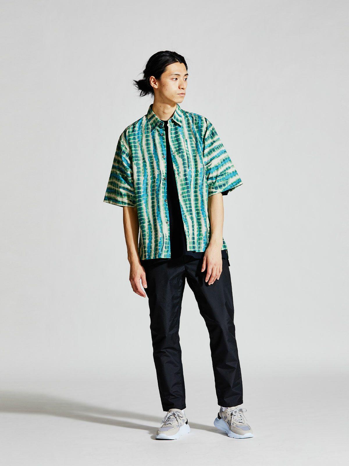 MIDIUMISOLID Men's タイダイライクプリントシャツ
