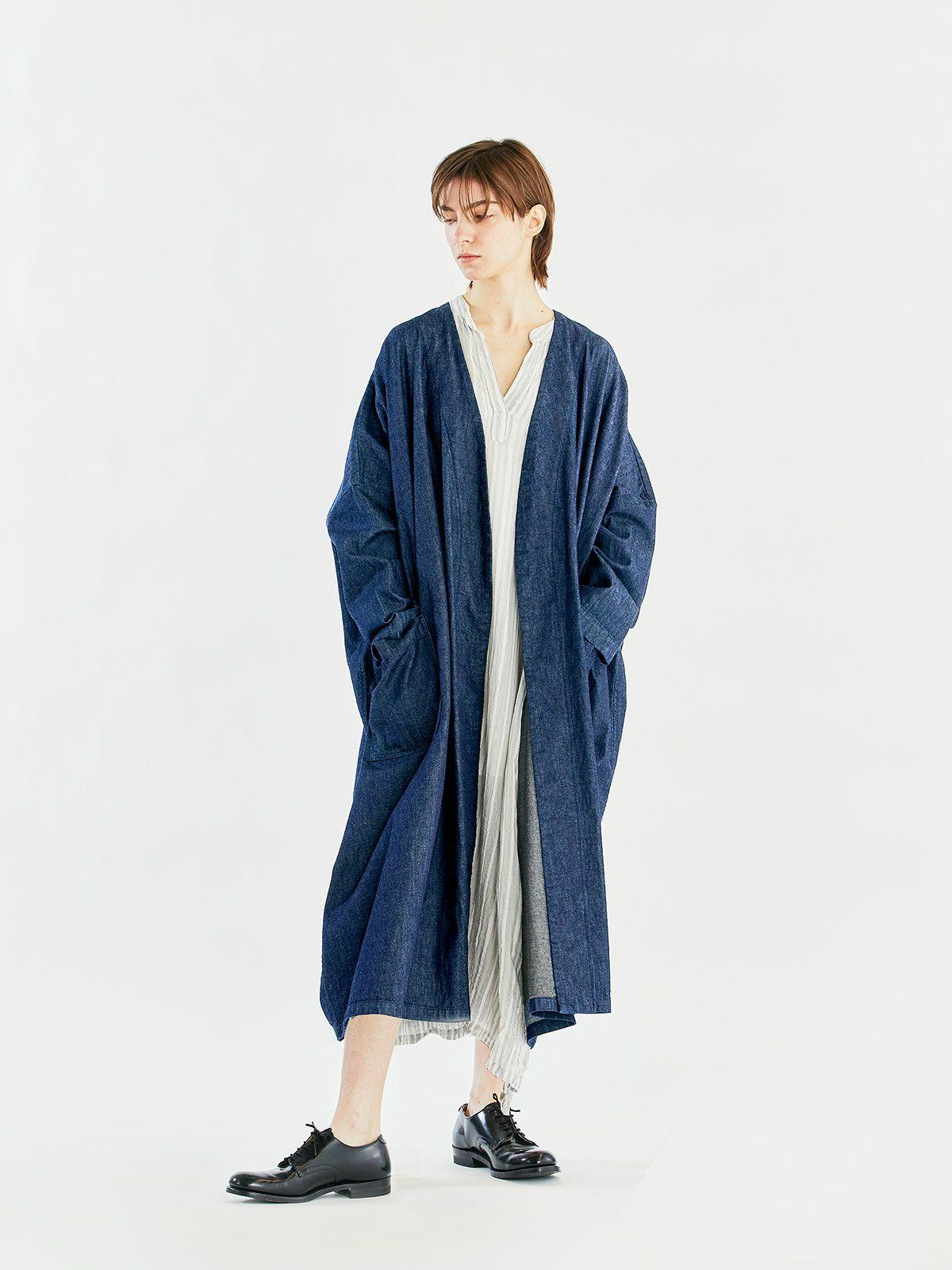 denim wide coat