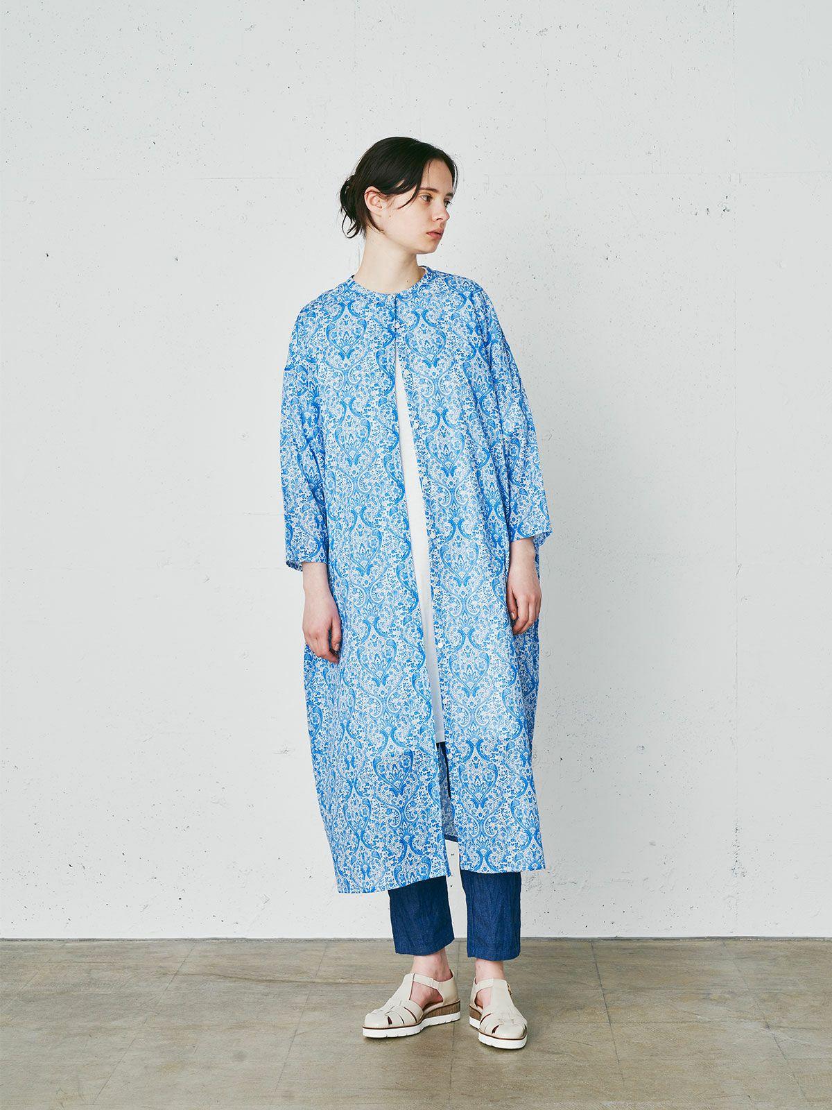 Deveaux print wede shirt OP  /  blue