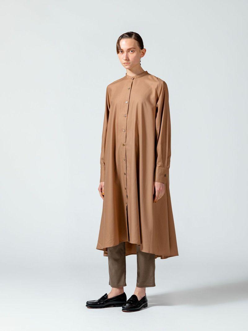 stand collar flare shirt OP / beige