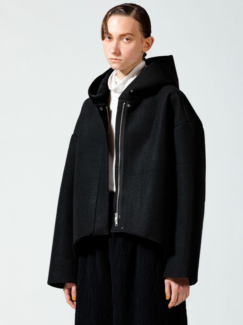 bonding hooded blouson     black