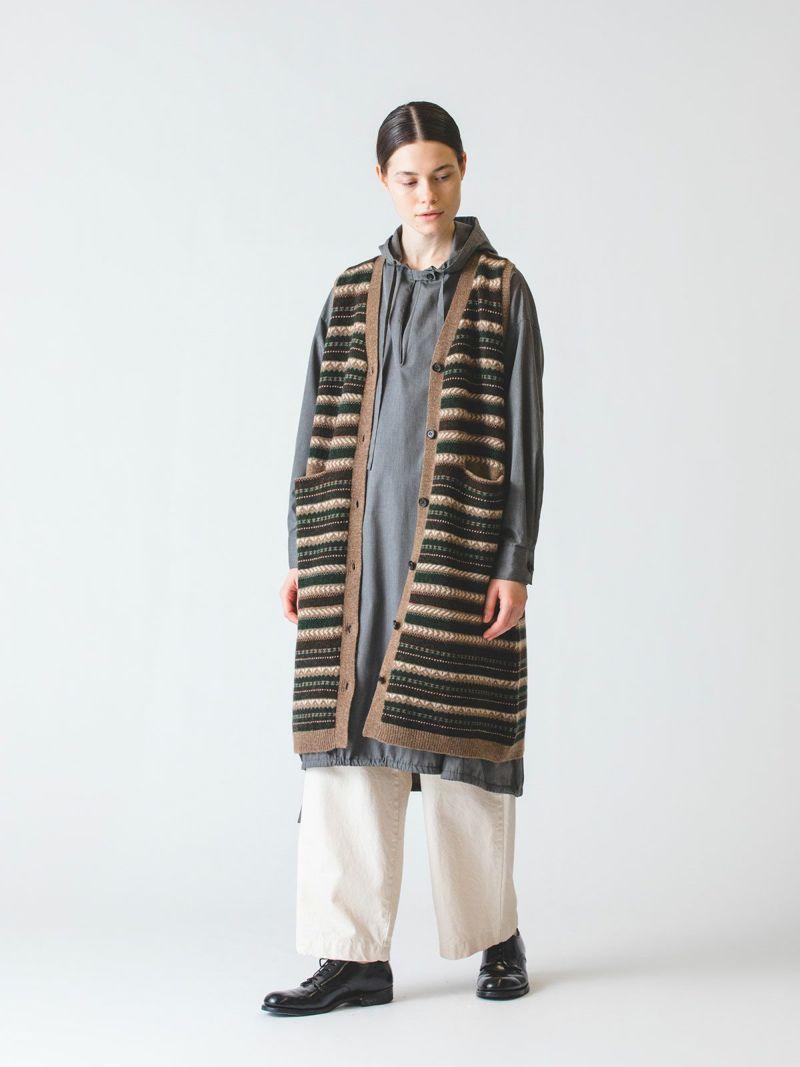 jacquard long vest / brown