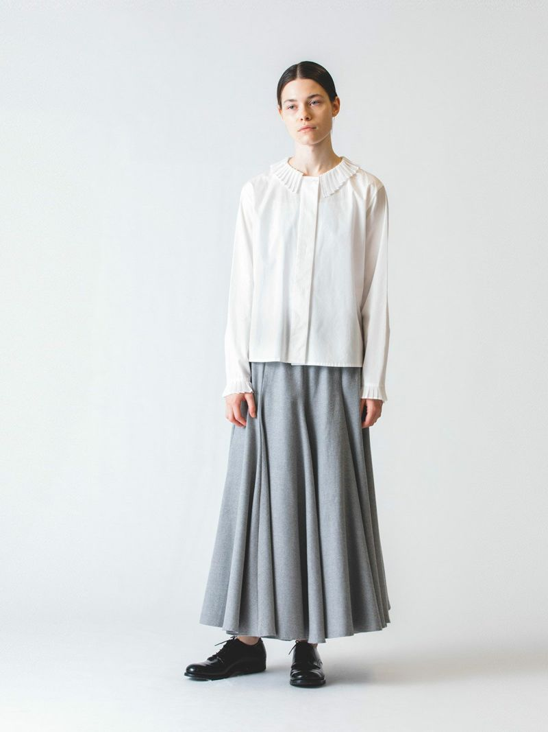 pleats collar front fly shirt