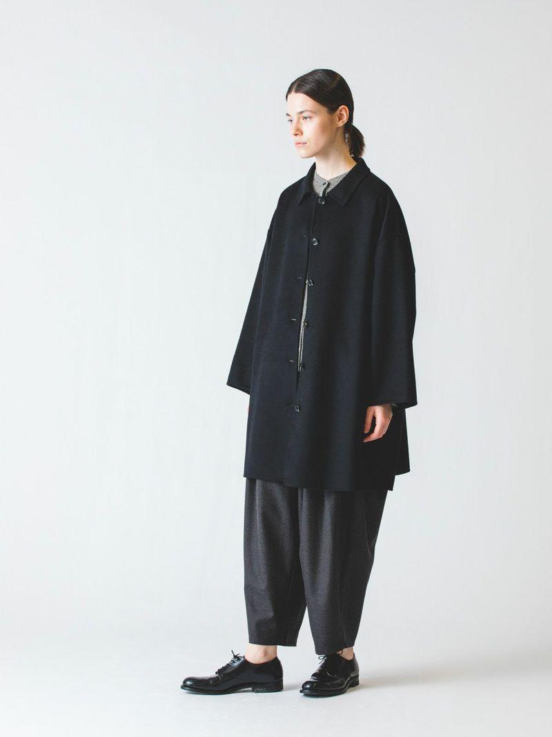 soutien collar wide coat / black