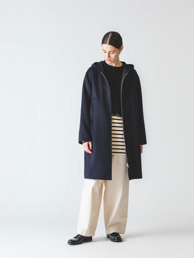 wool front zip coat / navy