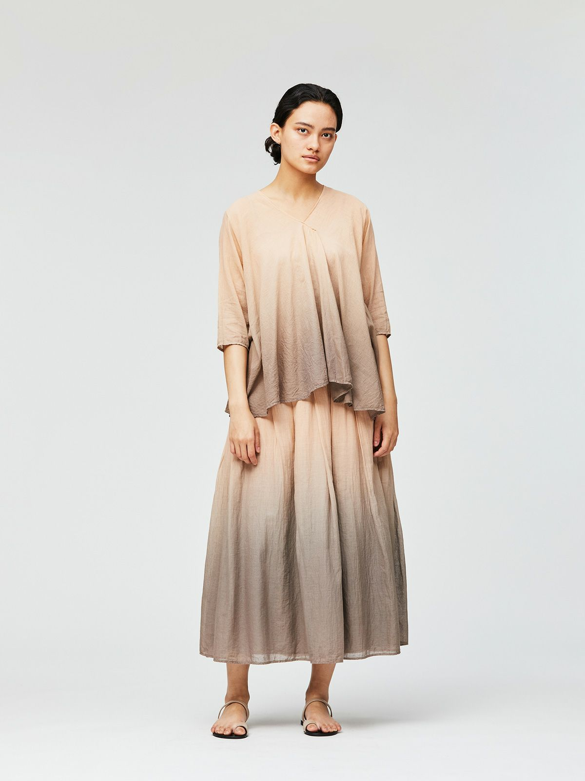mizuiro ind two piece gradation front tuck flare P/O