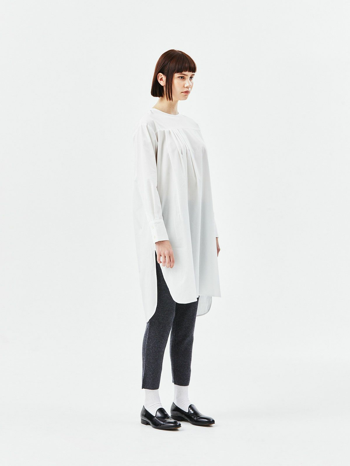 【2020AW新作】mizuiro ind アシンメトリータックシャツチュニック