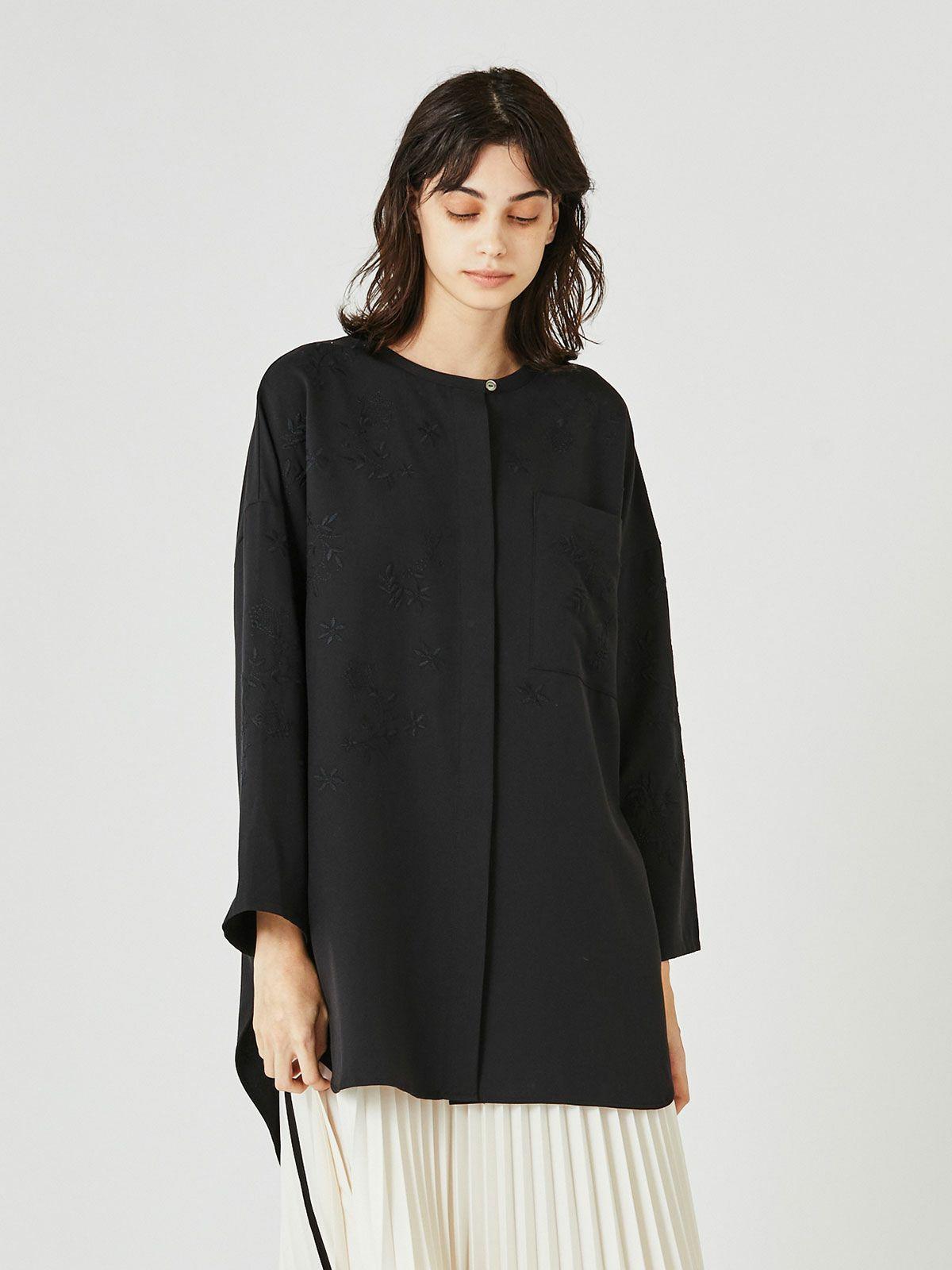 MIDUMISOLID for Ladies ベルト付き刺繍ノーカラーシャツ