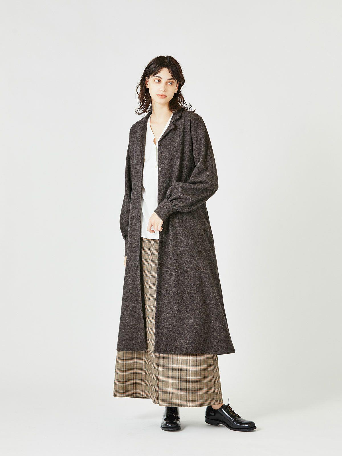 MIDUMISOLID for Ladies ベルト付きオープンカラーシャツコート