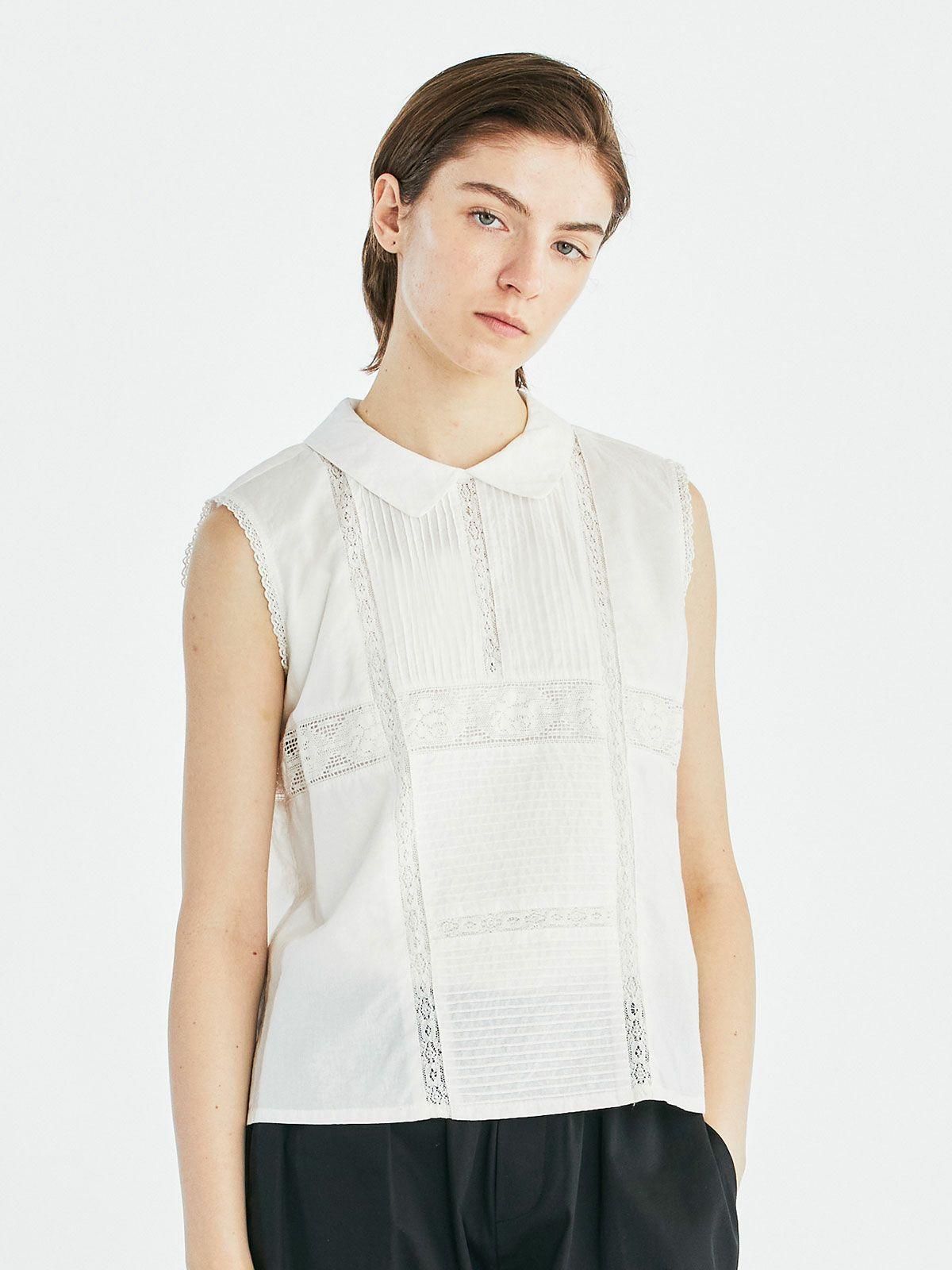 襟付きピンタック&レースノースリーブシャツ