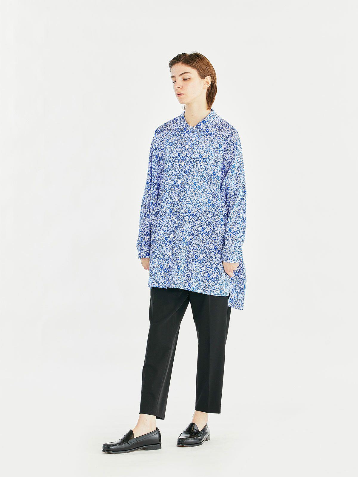 small flower print shirt collar tunic