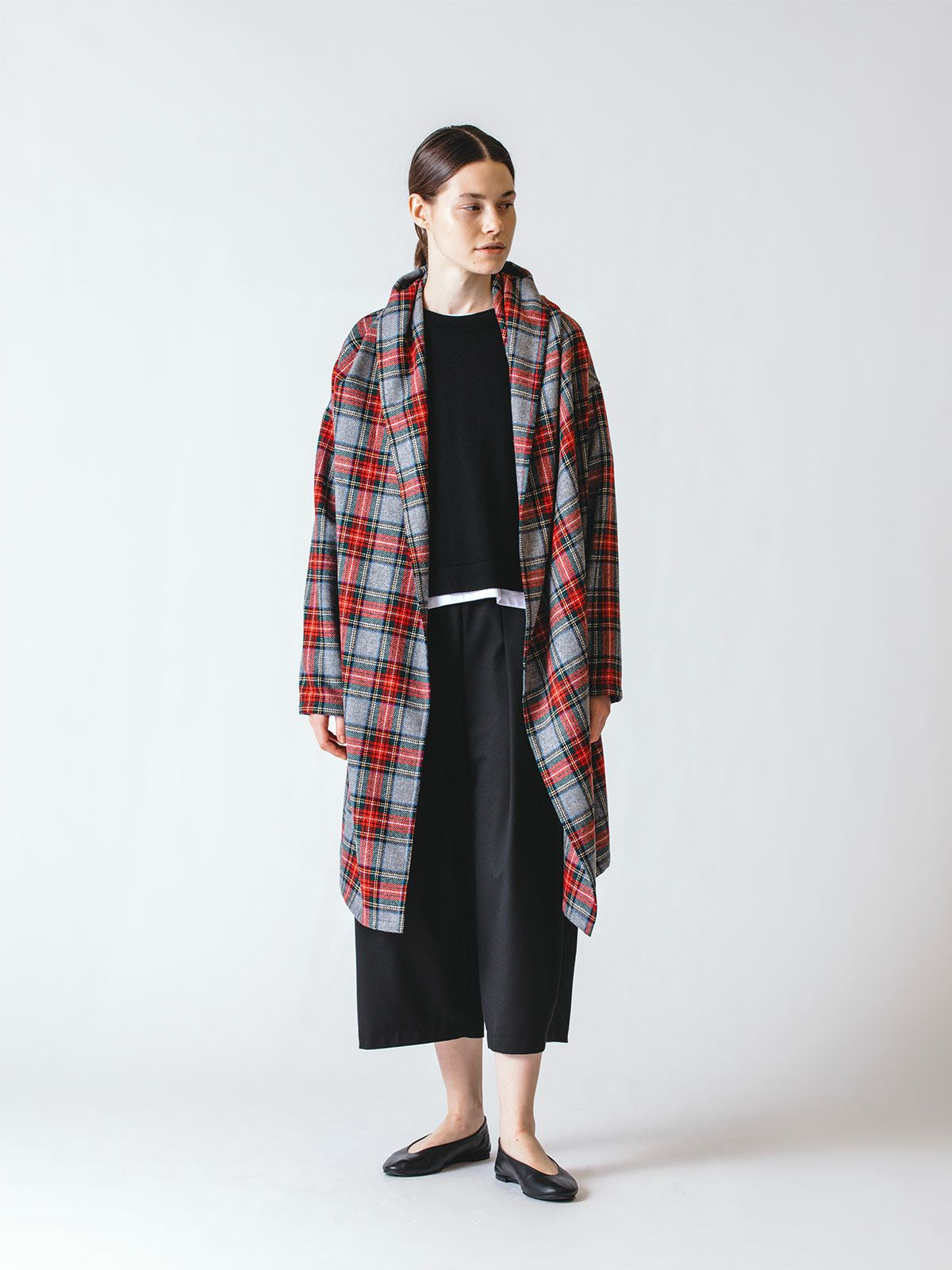 wool brend check drape C.D